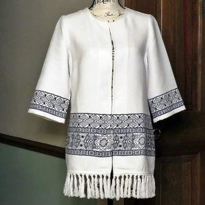 CHICO'S Aztec Embroidered Fringed Kimono - NWOT
